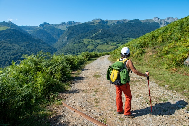 Женщина hiker на горе