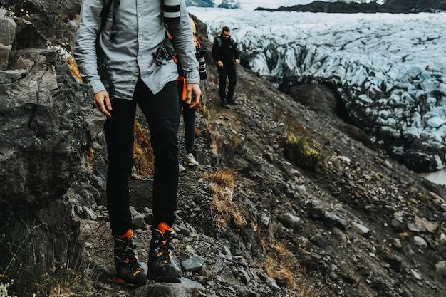 아이슬란드 svínafellsjökull 빙하에서 등산객