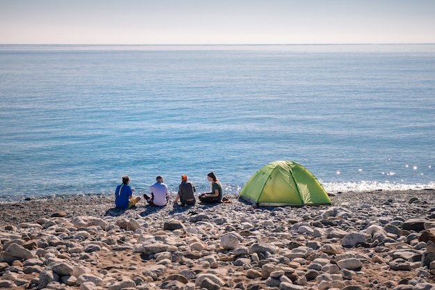 Hikers camping on the beach in cirali