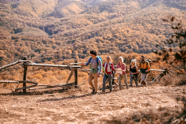 Hikers climbing the hill.