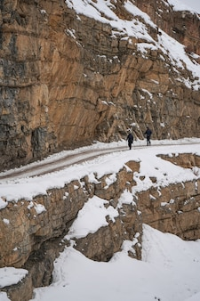 Hikers in spiti valley in winter