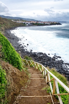 Hiking along the shore of the ocean
