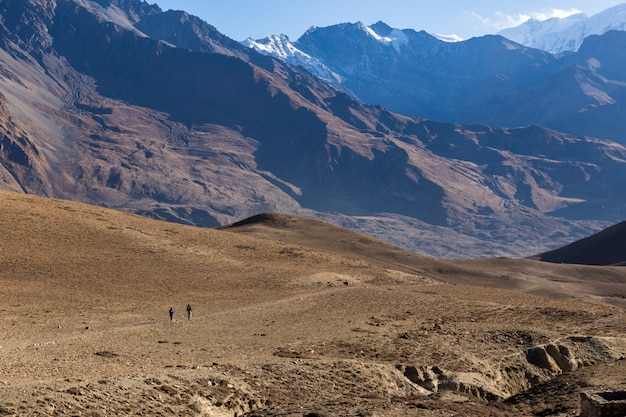 Hiking in himalaya mountains. lower mustang, nepal