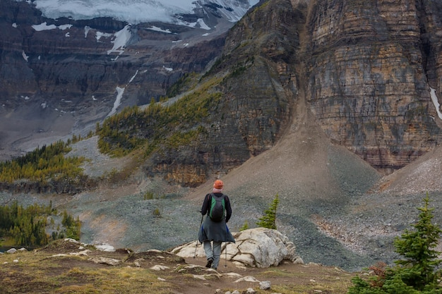 Hiking man in canadian mountains.