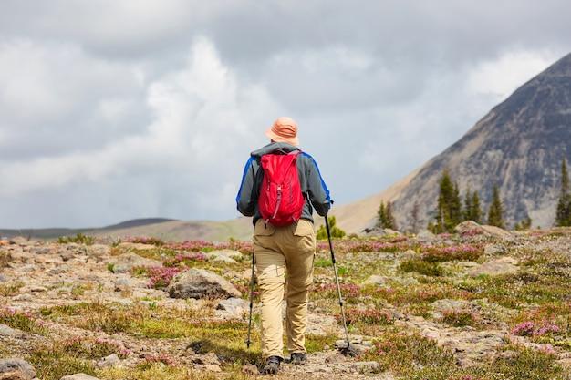 캐나다 산에서 하이킹 남자. 하이킹은 북미에서 인기있는 레크리에이션 활동입니다. 그림 같은 트레일이 많이 있습니다.