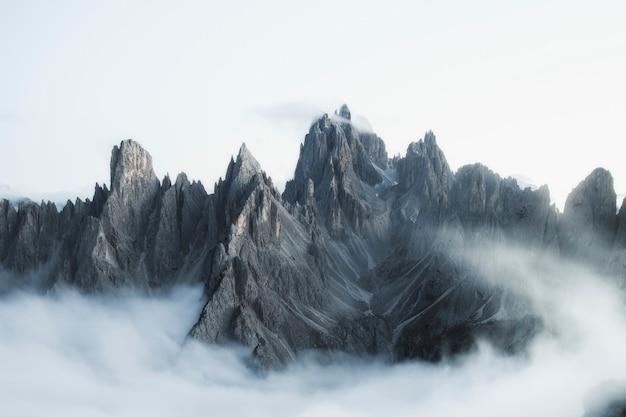 Hiking on the misty tre cime di lavaredo