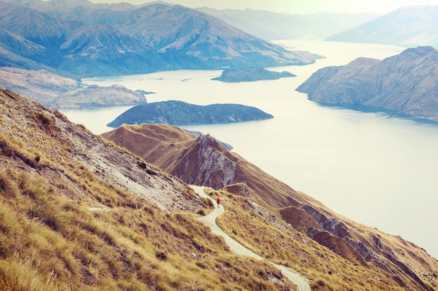 Hiking in roys peak. new zealand. lake wanaka