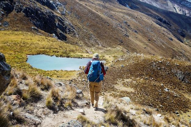 코르 디 예라 산맥, 페루에서 하이킹 장면