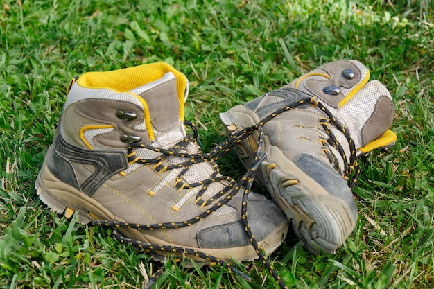Hiking shoes in the grass