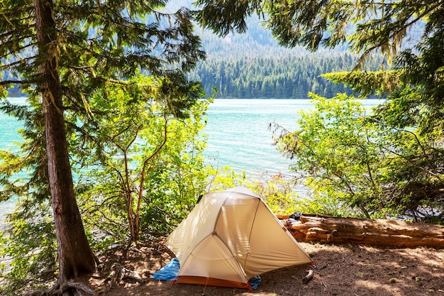Походная палатка в горах. зона отдыха маунт бейкер, вашингтон, сша