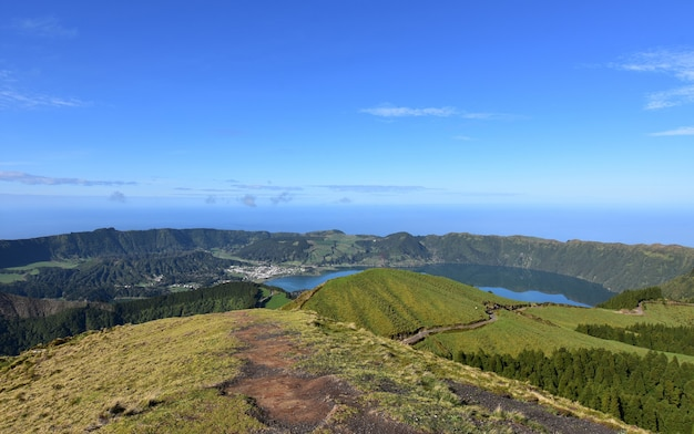 Hiking trail around the caldera rim of sete cidades in the azores.