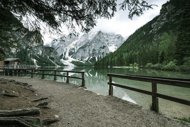 Hikking trial in pragser wildsee or braies lake in italy.