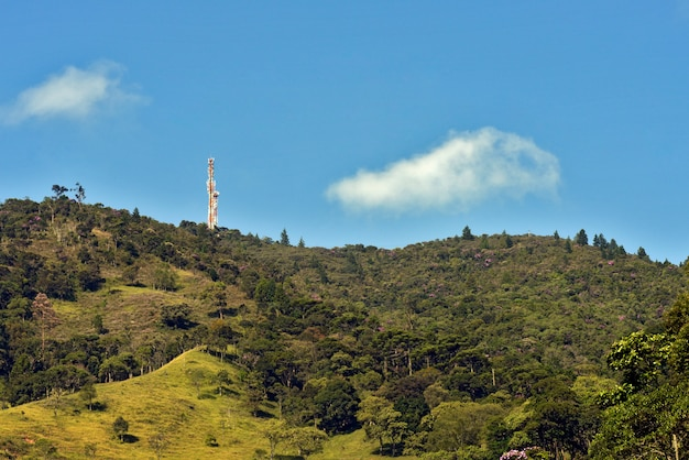 Hill of the serra da mantiqueira, with pasture and stretches of atlantic forest