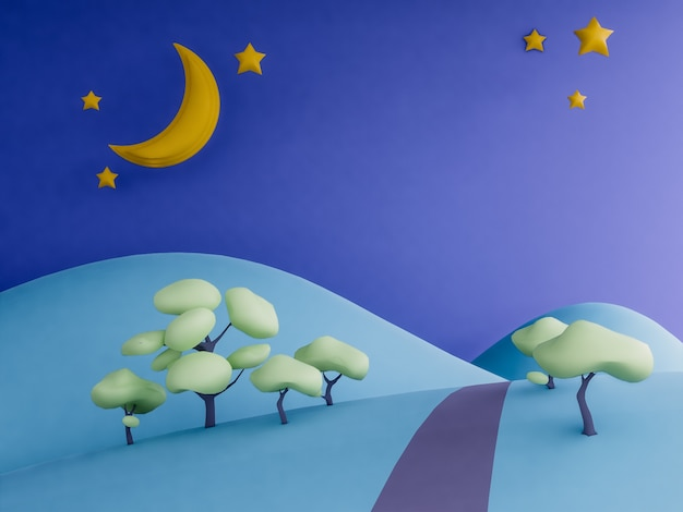 Hills and moon pastel background
