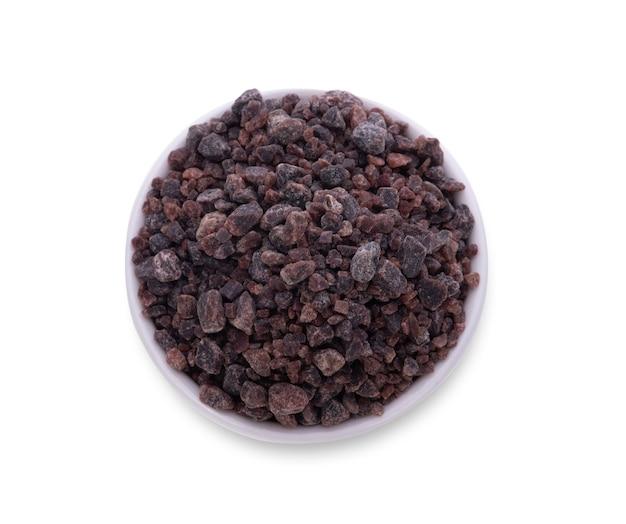 흰색 배경에 고립 된 히말라야 검은 소금