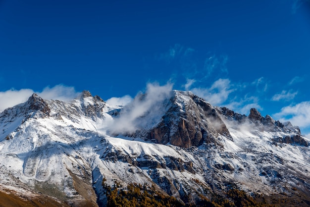 Himalayas covered in snow against the blue sky
