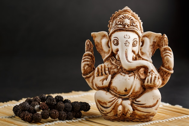Hindu god ganesh on black