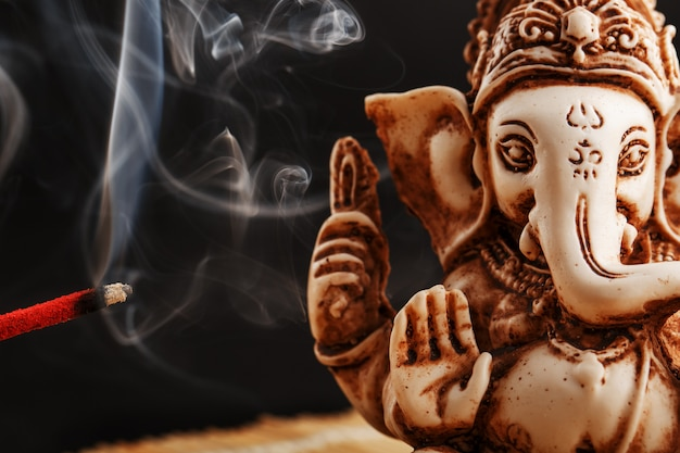 Hindu god ganesh on black