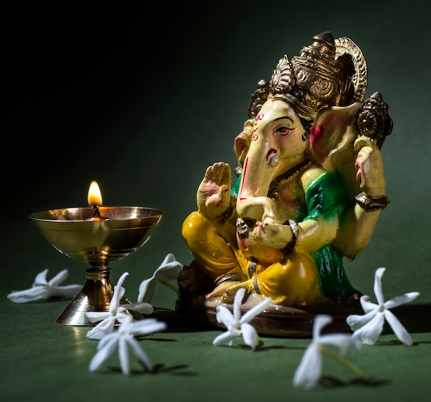 Hindu god ganesha. ganesha idol. a colorful statue of ganesha idol