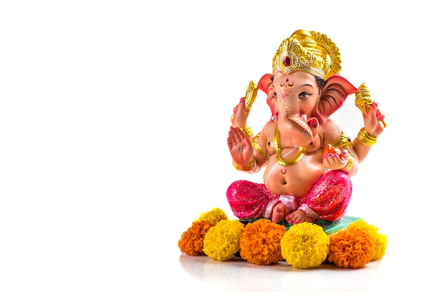 Hindu God Ganesha Ganesha Idol On White Premium Photo