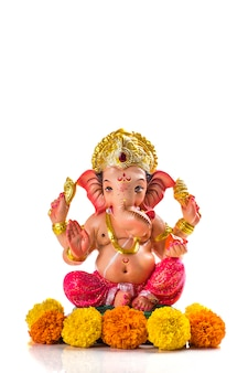 Hindu god ganesha. ganesha idol on white.