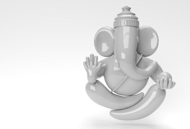 Hindu god ganesha statue- hindu religion festival concept elephant. 3d render illustration.