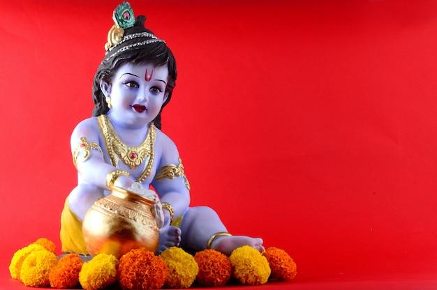 赤のヒンドゥー教の神クリシュナ像