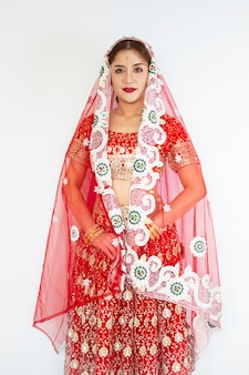 Hindu woman model mehndi and kundan jewelry traditional indian costume
