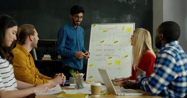 ビジネス戦略と開発を教えるヒンドゥー教の若い男性が男女の学生を競争させています。