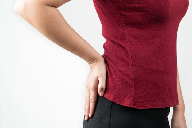 Hip pain, women suffer from office syndrome. healthcare and medical concept