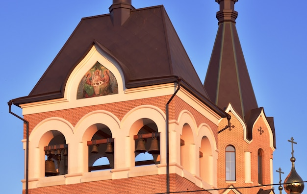 Hipped bell tower with mosaic in novosibirsk church of st andrew in the area of springs
