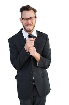 Hipster businessman giving a speech