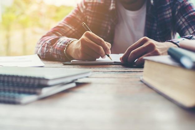 Hipster businessman working writing determine workspace lifestyl