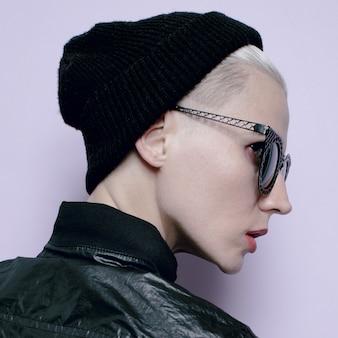 Hipster girl tomboy style black fashion stylish beanie hat