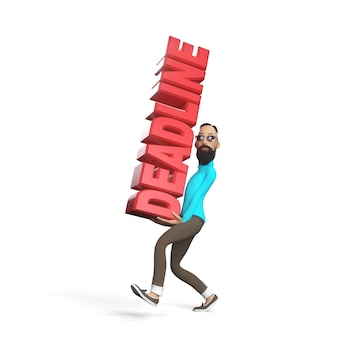 Hipster guy with beard carrying a deadline. 3d illustration