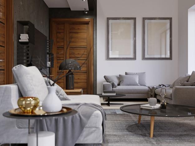 디자이너 부드러운 소파와 검은색 잡지 테이블이 있는 힙스터 인테리어 디자인. 흰색과 회색 콘크리트 벽의 조합. 벽에 두 개의 그림, mocap. 3d 렌더링.