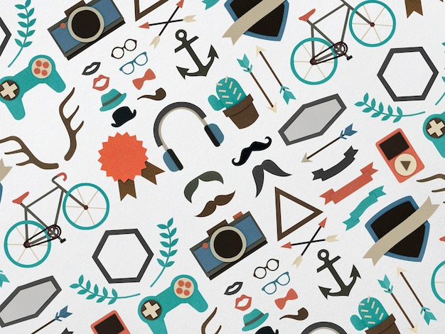 Hipster lifestyle icons paper craft collection