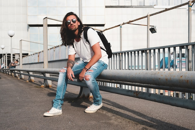 Hipster model with long hair