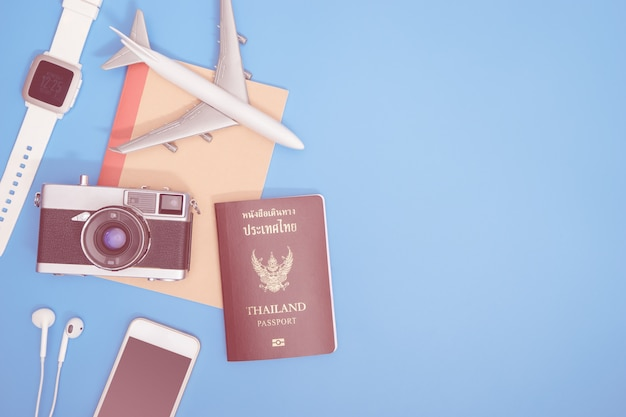 Hipster modern travel object on blue copy space for travel concept