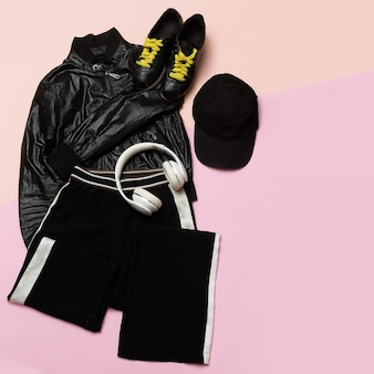 Hipster outfit for girl stylish black clothes and bright accessories sports urban minimal swag activ