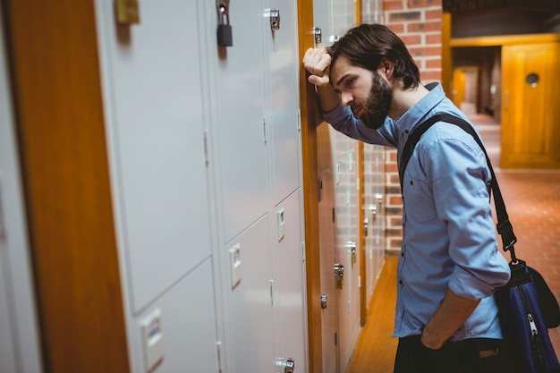 Hipster student feeling the pressure
