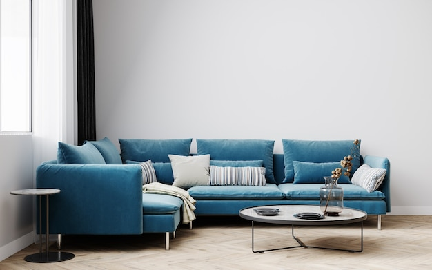 Hipster style interior background, living room with blue sofa