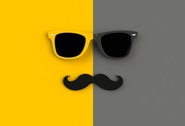 Hipster sunglasses and funny moustache on yellow and black background