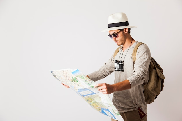 Hipster with map