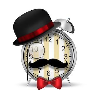 Хипстеры-будильник с шляпой для очков и моноклем