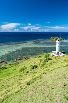 Hirakubo lighthouse surrounded by green grass blue sky deep blue ocean full of coral reefs
