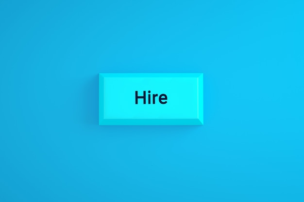 Hire button over blue background, 3d rendering