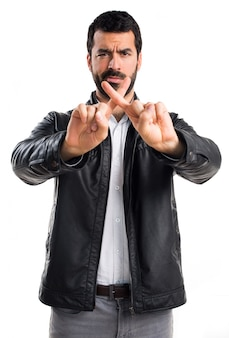Hispanic frustrated reaction crossing man