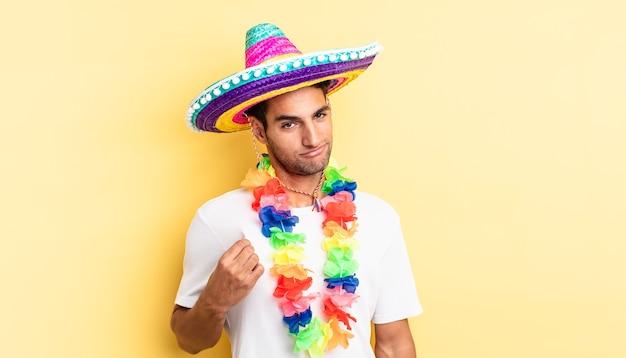 傲慢で、成功し、前向きで、誇りに思っているヒスパニック系のハンサムな男。メキシコのパーティーのコンセプト