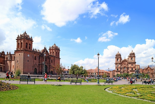 Historic center of cuzco with cusco cathedral and the iglesia de la compania de jesus church, peru